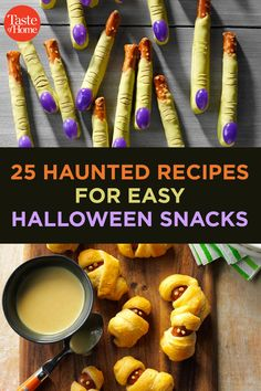 From snack mix and popcorn to dips and finger foods, find the spookiest easy Halloween snacks to serve at your party! Easy Halloween Snacks, Holiday Snacks, Halloween Appetizers, Halloween Food For Party, Yummy Appetizers, Party Snacks, Halloween Foods, Halloween Candy, Appetizer Recipes