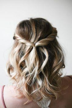 Mid length hair, blond, curls, braid