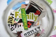 WORD COLLECTION JARS - I adore this! Pull 10 words from the jar and create a story using all 10 words!