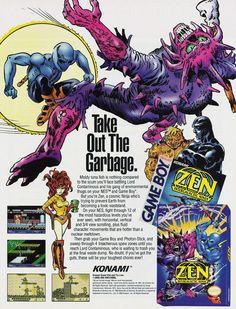 Today in Retro Gaming - Zen: Intergalactic Ninja (NES) - Retro Gaming Magazine Vintage Video Games, Classic Video Games, Vintage Videos, Retro Video Games, Video Game Art, Retro Games, Video Game Magazines, Gaming Magazines, Handheld Video Games
