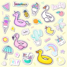Unicorn Stickers, Cartoon Stickers, Kawaii Stickers, Free Coloring Pictures, Summer Clipart, Cricut Tutorials, Color Vector, Hello Summer