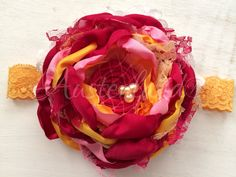 Cranberries zinnia     ( choice of headband or hair clip )  by Austenland on Etsy