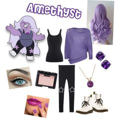 Amethyst from Steven universe by zamantha-palazuelos on Polyvore featuring polyvore, fashion, style, Ralph Lauren, Annarita N., Dr. Martens, Everlasting Gold and NARS Cosmetics