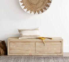 Folsom Bench | Pottery Barn Bench Set, Bench With Storage, Storage Benches, Free Interior Design, Interior Design Services, Geometric Construction, Hallway Furniture, Bar Furniture, Bench Cushions