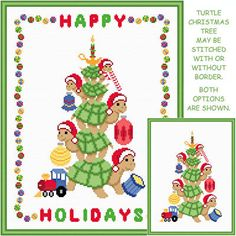 Turtle Christmas Tree - Christmas cross stitch pattern designed by Susan Saltzgiver. Category: Turtle.