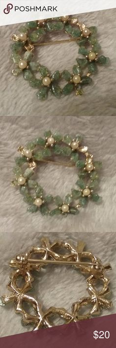 """Aquamarine Pearl Type Flower Wreath Pin Brooch Pretty aquamarine greenish floral wreath with little pearl type accents pin brooch.  Measures approximately 1"""". Vintage Jewelry Brooches"""