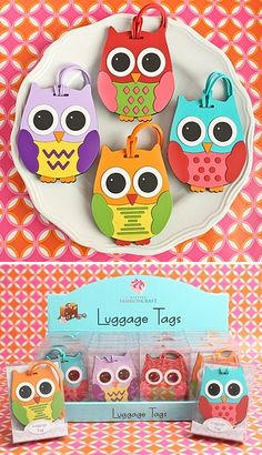 2c29feff14615 Assorted Wide-Eyed Owl Luggage Tags (4 Colors) (Set of 24)