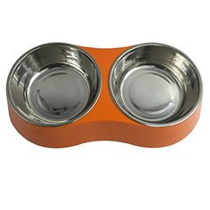 Pet Cuisine Double Stainless Steel Melamine Dog Bowl Nonskid Removable Food Dish Orange ** See this great product.