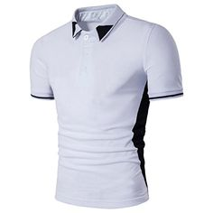83853cd3474 TOOPOOT Summer Contrast Tipped Mens Tshirt Tee Tops L white -- To view  further for