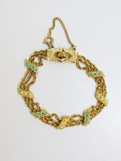 Vintage Bracelet: Gold Tone with Pearls and Turquoise by FairSails