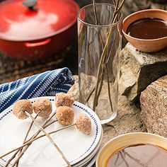 Party Food: Doughnuts roasted like marshmallows and dipped in chocolate or Carmel sauce