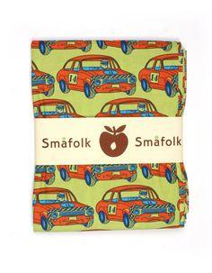 Moss green junior duvet cover with orange race cars - Smafolk
