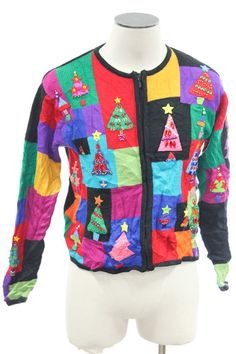 Tacky Christmas tree sweater from TheSweaterStore.com Christmas Tree Sweater, Ugly Xmas Sweater, Vintage Sweaters, Being Ugly, Christmas Holidays, Sweatshirts, Winter, Jackets, Women
