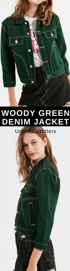 UNIF Woody Green Denim Jacket. love this point of green, I would wear it with some jeans. #denimjacket #green #urbaonutfitters #ad