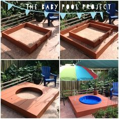 My husband made this awesome #DIY #Baby Kiddie #Pool Deck • Step 1 - Measure and build a center base • Step 2 - Build an outer base • Step 3 - Build the platform/deck and drill an umbrella hole • Step 4 - Paint with waterproof deck paint • Step 5 - Fill with water, add a potted palm tree and enjoy your Summer! ☀ (So easy to put away in pieces once Summer ends and you need the space back!)