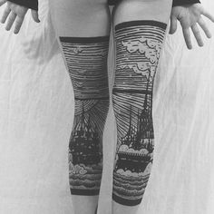 """Tattoo artist Houston Patton crafts intricate landscape scenes that span the back of his client's legs. Working under the name Thieves of Tower, he collaborates with artist Dagny Fox who oversees his creative direction and helps make these unique projects happen. Their artistic style references Medieval woodcuts and engravings, and with it, they intend on taking us """"back to a time of darkened beauty."""" Each tattoo utilizes bold lines and solid black shapes to depict sailing ships, rays of…"""