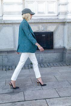 cap + blazer + skinny pant