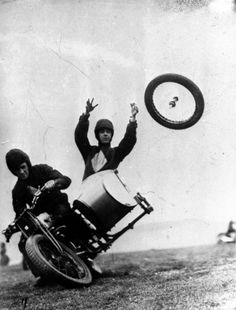 Losing a wheel in the Royal Motorcyle Tournament, 1932. ☀
