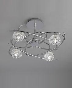 Semi plafón cromo 4 luces MAREMAGNUM - La Casa de la Lámpara