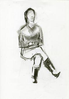 Apuntes de figura sentada. Ejercicio 4. 30x42. Yeray Gascón