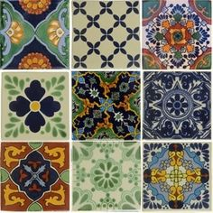 Mediterranean handmade rustic tiles with coloured and greyscale patterns.