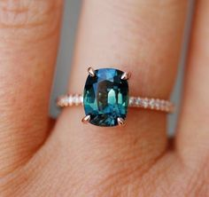 Peacock sapphire engagement ring. 3ct cushion cut diamond ring 14k Rose gold ring by Eidelprecious.