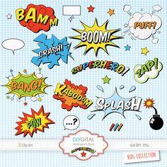 Superhero Comic Elements-Comic Book-Sound Effects-Action Words-Speech Bubbles- Set of 21 Super Hero pop art elements-Superhero Cartoons