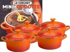 Amazon.com: Le Creuset Mini Cocottes with Cookbook, Flame, Set of 4: Kitchen & Dining
