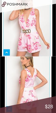 COMING SOONPlunging Neckline Pink Floral Romper Spring Romper!  Pink Floral, Flattering Neckline, Sleeveless, Belted. Simply Beautiful!  65% Polyester, 35% Cotton. Pants Jumpsuits & Rompers