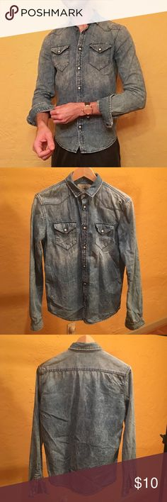 Zara Man Acid-Wash Denim Shirt Medium blue denim shirt with acid-wash finish. Distressed details, snap-button closures and flap pockets. Great condition - work twice. Zara Shirts Casual Button Down Shirts