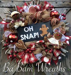 Christmas Wreath Gingerbread Wreath Burlap Wreath by BaBamWreaths