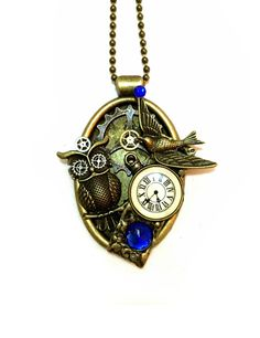 Steampunk Collage Pendant Necklace, Gears, Pocket Watch, Owl, Watch Parts, Blue, Oval Bronze Setting, Neo Victorian by OneStopSteamShoppe on Etsy https://www.etsy.com/listing/222021454/steampunk-collage-pendant-necklace-gears