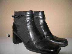 NICOLE BLACK ANKLE BOOTS 8.5 classic heels CHUNKY STACKED leather fabric hipster #Nicole #FashionAnkle