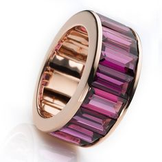 Details Ring 18 kt Rose Gold 10 rodolite totalling 10.90 ct