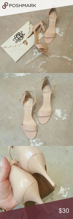 """Nude BP. Heels I am selling a classic and sexy nude heel by BP.  These are a perfect nude/champagne color which simply highlights and """"goes"""" with everything.  My fave way to wear them is to tone down their pretty a bit and pair with distressed denim and a white tee, however they are an all around perfect shoe to own.  A very low heel allows for long wearability.  Pretty good condition all signs of wear, (pic3) are hardlt noticeable when on, Size 10. bp Shoes Heels"""