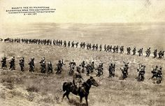 Greek soldiers marching through the arid plains of Asia Minor, 5 August 1921