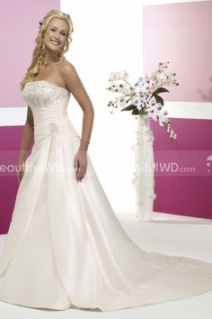 A-line Strapless Silky Taffeta Embroidery Wedding Dress