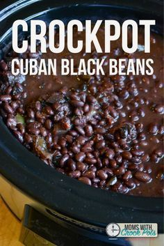 These are the best black beans ever! You have to try this easy Crockpot Cuban Bl… These are the best black beans ever! You have to try this easy Crockpot Cuban Black Beans Recipe! Great with rice, in wraps, as a side and more. Cuban Rice And Beans, Cuban Black Beans, Rice And Beans Recipe, Dried Black Beans, Black Beans And Rice, Beans In Crockpot, Vegan Crockpot Recipes, Slow Cooker Recipes, Crockpot Meat