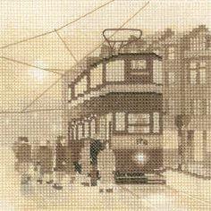 Tram Stop - Sepia Cross Stitch