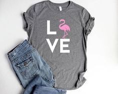 Flamingo Shirt LOVE Womens Pink Flamingo Party Shirts Flamingo