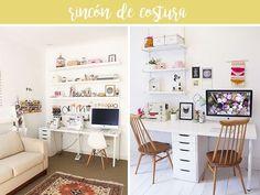 Ideas para montar tu espacio de costura en casa. Con una mesita, junto al ordenador o en su propio mini armario. ¡Crea tu rincón ya!