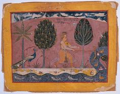 Balarama with His Ploughshare at the Jamna River. From Series: The Song of the Herdsman or Dark Lord. Gita Govinda. Opaque watercolor and gold on paper,  Mewar Court, Rajasthan, ca. 1560