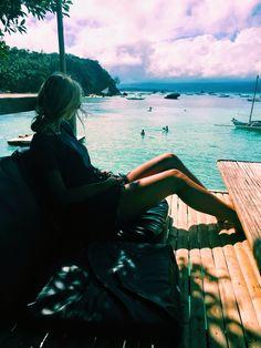 First breakfast, then a swim in the clear blue ocean.