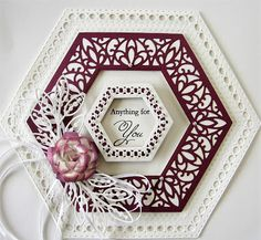 Hi bloggers! You will be surprised to find that today's offering is an actual card, with an inside and everything! LOL I just couldn't resist making one with the Hexagon Nobles! I made a shaped ca