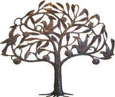 Haitian Steel Drum Metal Art Fruit Tree With Birds Wall Decor 25 X 30