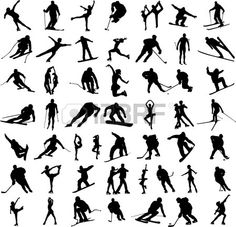 big collection of winter sports silhouettes - vector