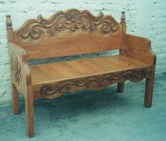 Mexican Colonial Style Furniture in Ensenada. Rustic Furniture in Baja. Mexican Colonial Style Furniture in Ensenada. Rustic Furniture in Baja. Bed Frame Bench, Headboard Benches, Headboards For Beds, Daybed, Repurposed Furniture, Rustic Furniture, Painted Furniture, Diy Furniture, Antique Headboard