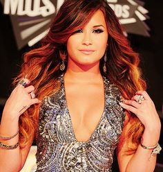 Demi lovato Ombre and Feature Hair Style