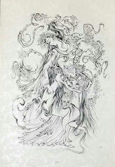 -♥♥___Mahmoud Farshchian Iran Hand Painted Dress, Persian Pattern, Iranian Art, National Art, Islamic Art Calligraphy, Buddhist Art, Fairy Art, Art Music, Traditional Art