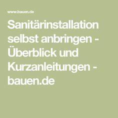 Sanitärinstallation selbst anbringen - Überblick und Kurzanleitungen - bauen.de